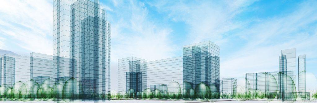 Loan Financing transparent buildings sketched on sky background