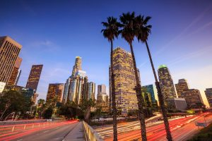 downtown los angeles rush hour and palm trees